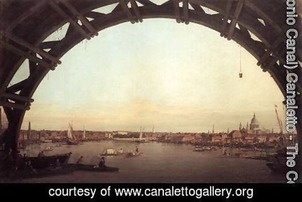 (Giovanni Antonio Canal) Canaletto - London seen through an arch of Westminster Bridge, 1746-47