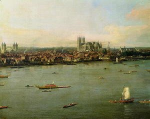 (Giovanni Antonio Canal) Canaletto - View of the Thames and Westminster Bridge, detail of Westminster Abbey, 1746-47 (detail)
