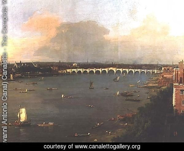 View of the Thames and Westminster Bridge, detail of the bridge, c.1746-47 (detail-2)