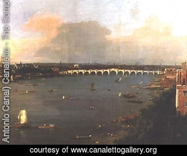 (Giovanni Antonio Canal) Canaletto - View of the Thames and Westminster Bridge, detail of the bridge, c.1746-47 (detail-2)