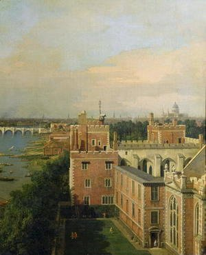 View of the Thames and Westminster Bridge, detail of Lambeth Palace, c.1746-47