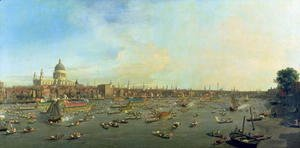 (Giovanni Antonio Canal) Canaletto - The River Thames with St. Paul's Cathedral on Lord Mayor's Day, c.1747-48