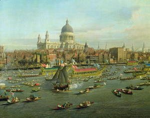 (Giovanni Antonio Canal) Canaletto - The River Thames with St. Paul's Cathedral on Lord Mayor's Day, detail of St. Paul's Cathedral, c.1747-48