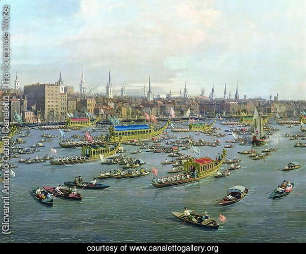 The River Thames with St. Paul's Cathedral on Lord Mayor's Day, detail of the boats, c.1747-48
