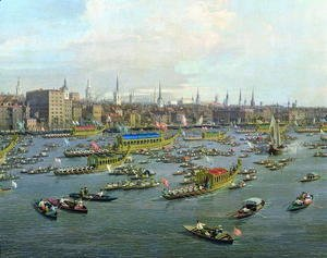 (Giovanni Antonio Canal) Canaletto - The River Thames with St. Paul's Cathedral on Lord Mayor's Day, detail of the boats, c.1747-48