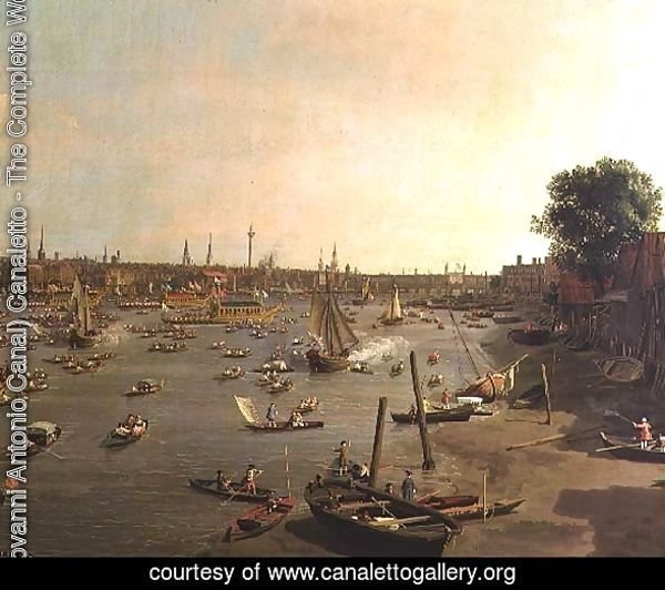 The River Thames with St. Paul's Cathedral on Lord Mayor's Day, detail of boats on the shore, c.1747-48