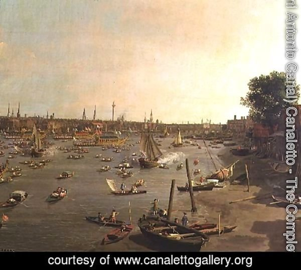 (Giovanni Antonio Canal) Canaletto - The River Thames with St. Paul's Cathedral on Lord Mayor's Day, detail of boats on the shore, c.1747-48