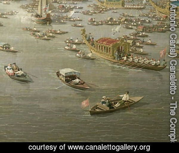 (Giovanni Antonio Canal) Canaletto - The River Thames with St. Paul's Cathedral on Lord Mayor's Day, detail of rowing boats, c.1747-48