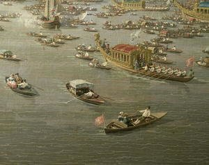 The River Thames with St. Paul's Cathedral on Lord Mayor's Day, detail of rowing boats, c.1747-48