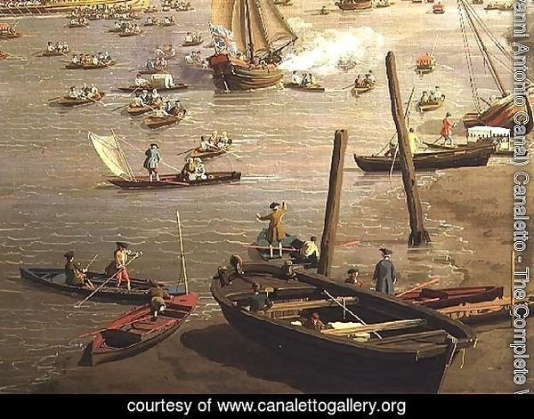 The River Thames with St. Paul's Cathedral on Lord Mayor's Day, detail of boats by the shore, c.1747-48