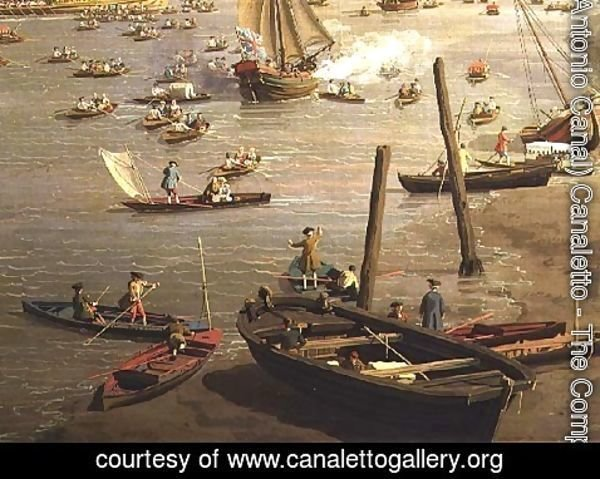 (Giovanni Antonio Canal) Canaletto - The River Thames with St. Paul's Cathedral on Lord Mayor's Day, detail of boats by the shore, c.1747-48