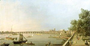 The Thames from the Terrace of Somerset House, looking upstream Towards Westminster and Whitehall, c.1750