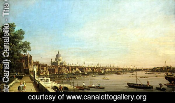 (Giovanni Antonio Canal) Canaletto - The Thames from the Terrace of Somerset House Looking Towards St. Paul's, c.1750