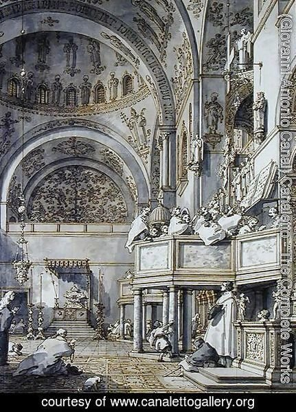 (Giovanni Antonio Canal) Canaletto - The Choir Singing in St. Mark's Basilica, Venice, 1766