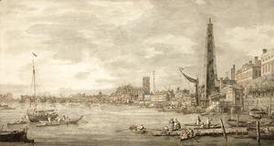 (Giovanni Antonio Canal) Canaletto - The Thames Looking towards Westminster from near York Water Gate