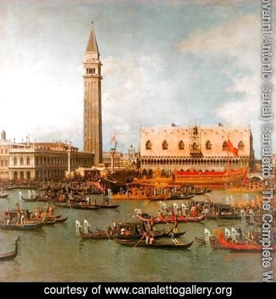 (Giovanni Antonio Canal) Canaletto - View of the Palace of St Mark, Venice, with preparations for the Doge's Wedding