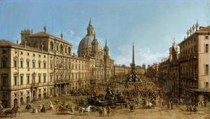 (Giovanni Antonio Canal) Canaletto - A view of Piazza Navona, Rome