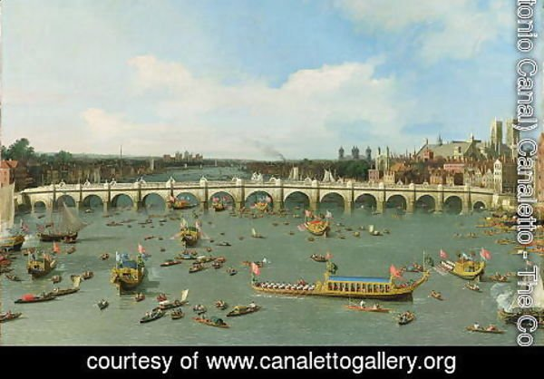 (Giovanni Antonio Canal) Canaletto - Westminster Bridge, London, With the Lord Mayor's Procession on the Thames (detail)
