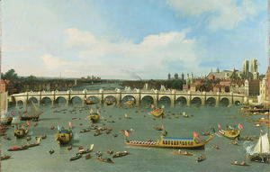 Westminster Bridge, London, With the Lord Mayor's Procession on the Thames (detail)