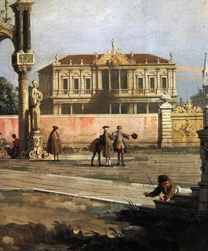 (Giovanni Antonio Canal) Canaletto - Detail of a Town House and a public square