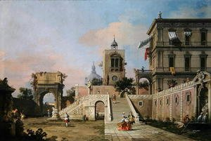 (Giovanni Antonio Canal) Canaletto - Capriccio of twin flights of steps leading to a palazzo, c.1750