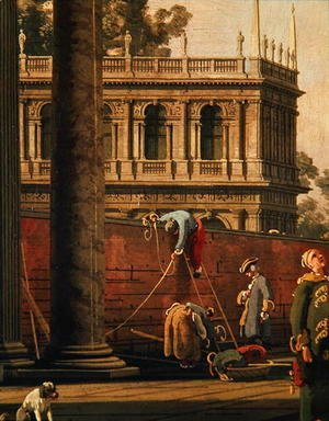(Giovanni Antonio Canal) Canaletto - Capriccio of a man scaling a wall