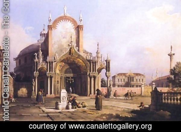 (Giovanni Antonio Canal) Canaletto - Capriccio of a church, c.1750