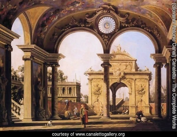 Capriccio of a triumphal arch seen through an ornate archway, c.1750