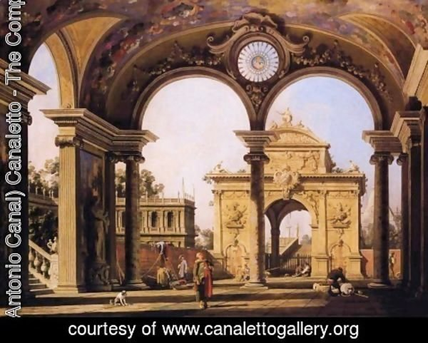 (Giovanni Antonio Canal) Canaletto - Capriccio of a triumphal arch seen through an ornate archway, c.1750