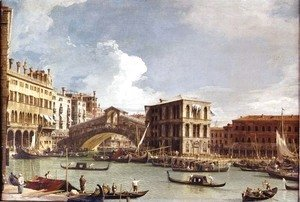 (Giovanni Antonio Canal) Canaletto - The Rialto Bridge, Venice, from the North