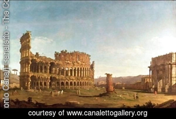 (Giovanni Antonio Canal) Canaletto - Colosseum and Arch of Constantine, Rome