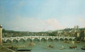 (Giovanni Antonio Canal) Canaletto - Westminster Bridge from the North with Lambeth Palace in distance