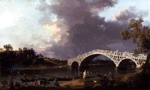 (Giovanni Antonio Canal) Canaletto - Old Walton Bridge over the Thames, 1754