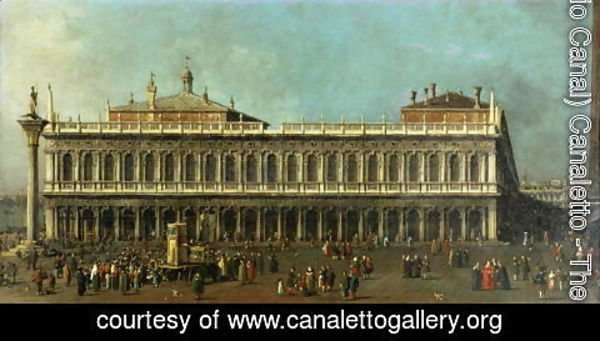 (Giovanni Antonio Canal) Canaletto - The Library and the Piazzetta, Venice