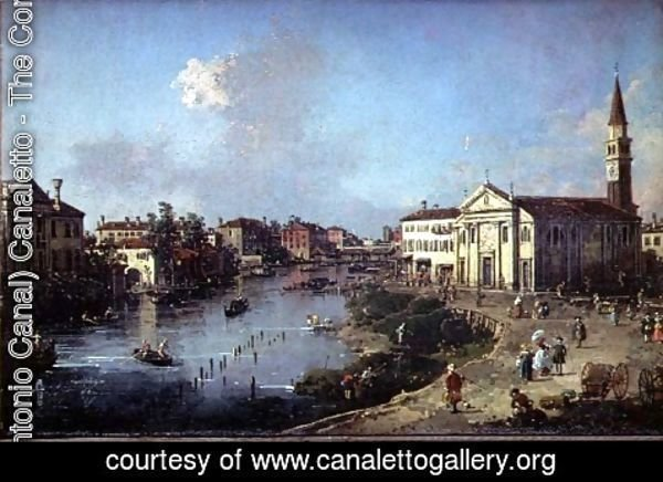 (Giovanni Antonio Canal) Canaletto - Dolo on the Brenta, with Church of St. Rocco and the Villa Zanon-Bon