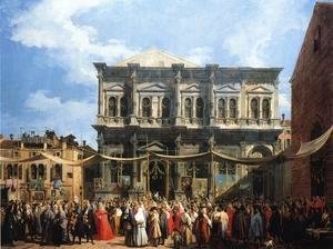 (Giovanni Antonio Canal) Canaletto - The Doge Visiting the Church and Scuola di San Rocco, c.1735