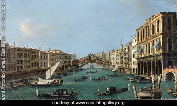 View of the Grand Canal from the South, the Palazzo Foscari to the right and the Rialto Bridge beyond