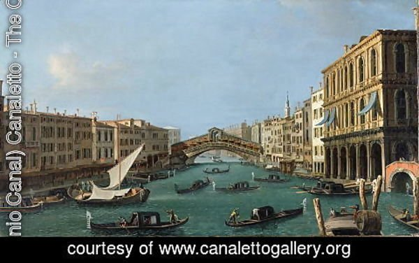 (Giovanni Antonio Canal) Canaletto - View of the Grand Canal from the South, the Palazzo Foscari to the right and the Rialto Bridge beyond