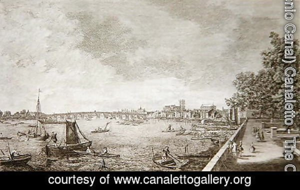 (Giovanni Antonio Canal) Canaletto - A View from Somerset Gardens to Westminster Bridge, 1750