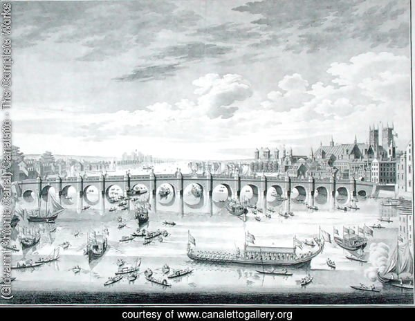 The South East Prospect of Westminster Bridge - Boats arriving at Parliament for the Swearing in of Sir John Barnard as Lord Mayor of the City of London, 1747