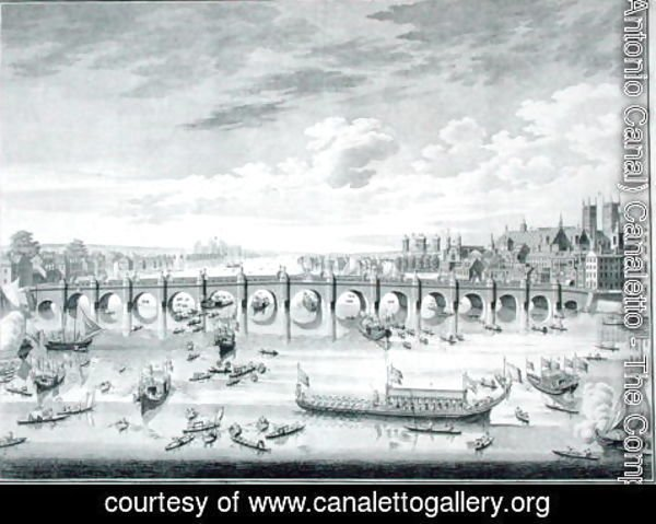 (Giovanni Antonio Canal) Canaletto - The South East Prospect of Westminster Bridge - Boats arriving at Parliament for the Swearing in of Sir John Barnard as Lord Mayor of the City of London, 1747