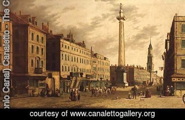(Giovanni Antonio Canal) Canaletto - The Monument and Fish Street Hill, 1755