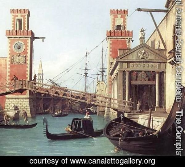 (Giovanni Antonio Canal) Canaletto - View of the Entrance to the Arsenal (detail)