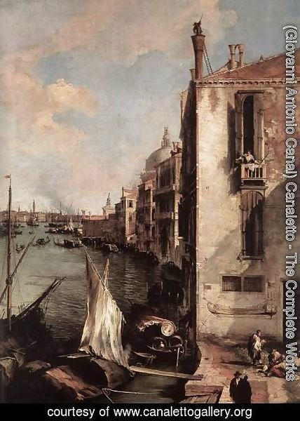 (Giovanni Antonio Canal) Canaletto - Grand Canal, Looking East from the Campo San Vio (detail)