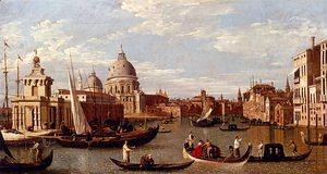 (Giovanni Antonio Canal) Canaletto - View Of The Grand Canal And Santa Maria Della Salute With Boats And Figures In The Foreground, Venice