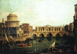 (Giovanni Antonio Canal) Canaletto - Capriccio of the Grand Canal With an Imaginary Rialto Bridge and Other Buildings