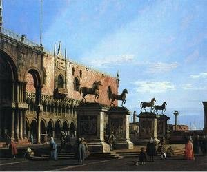 (Giovanni Antonio Canal) Canaletto - Capriccio With the Four Horses From the Cathedral of San Marco