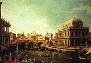 (Giovanni Antonio Canal) Canaletto - Basilica di Vecenza and the Ponte de Rialto