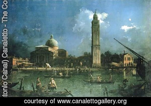 (Giovanni Antonio Canal) Canaletto - Night-time Celebration Outside the Church of San Pietro di Castello