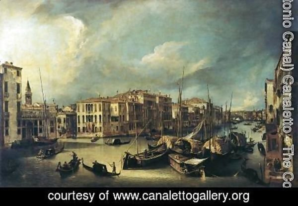 (Giovanni Antonio Canal) Canaletto - Grand Canal: Looking Northeast from near the Palazzo Corner Spinelli to the Rialto Bridge